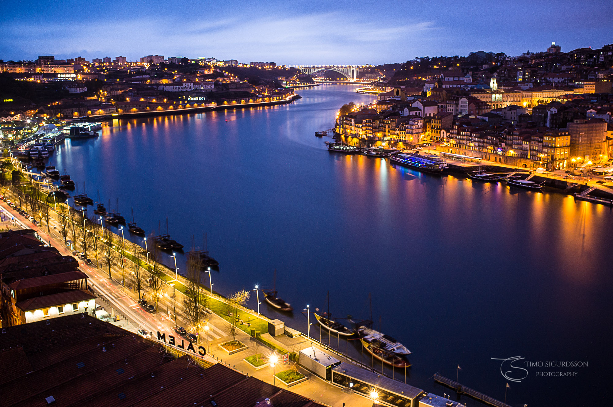 Porto, Portugal. River Douro at night.
