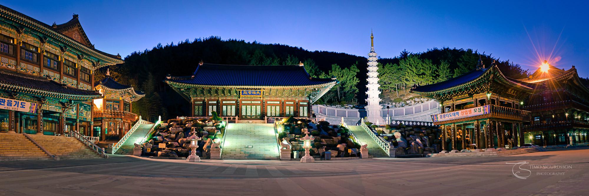 Samgwangsa Temple, Busan, South Korea. Temple panorama at night.