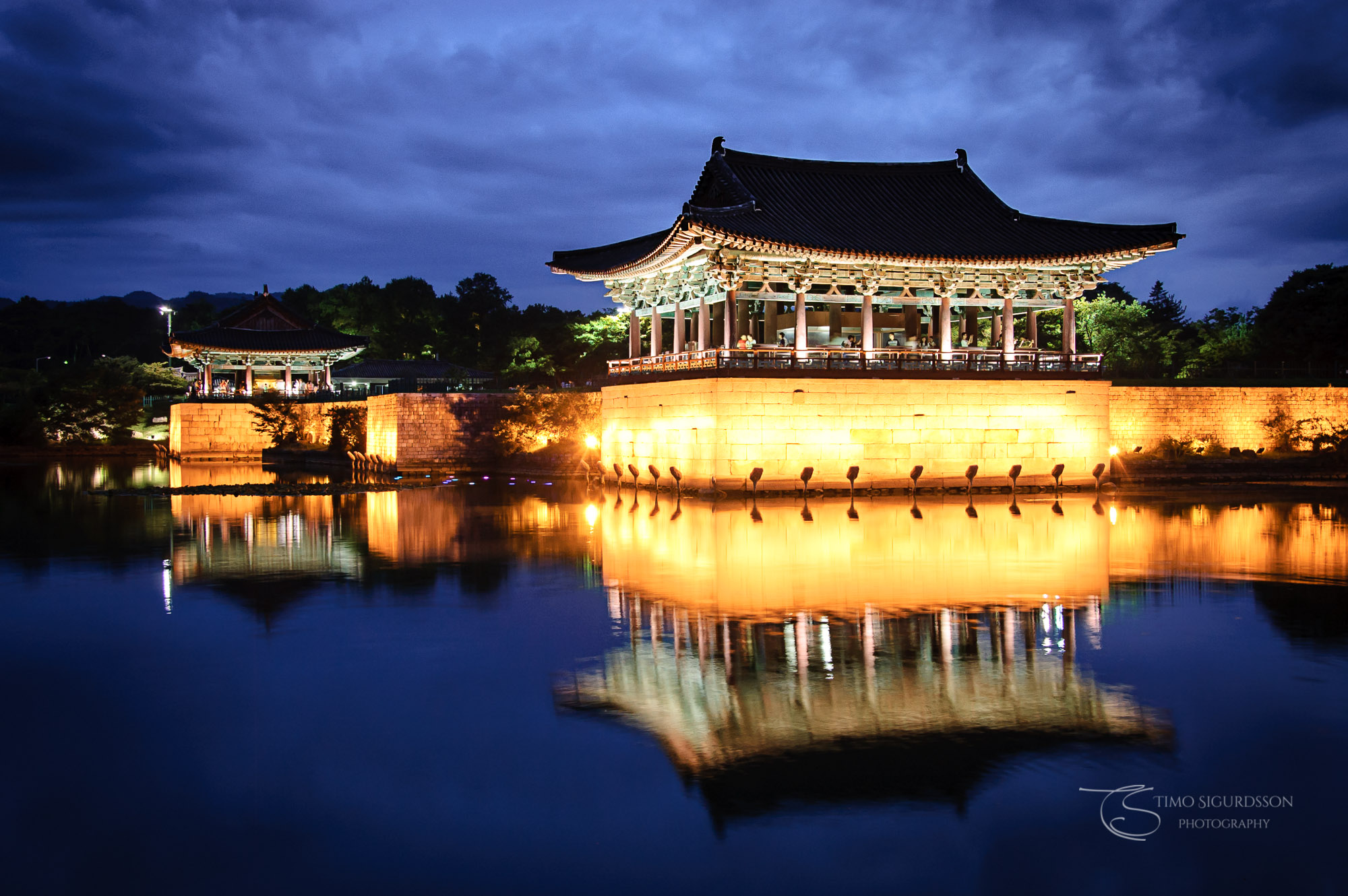 Anapji Pond, Gyeongju, South Korea. Palace reflection at night.