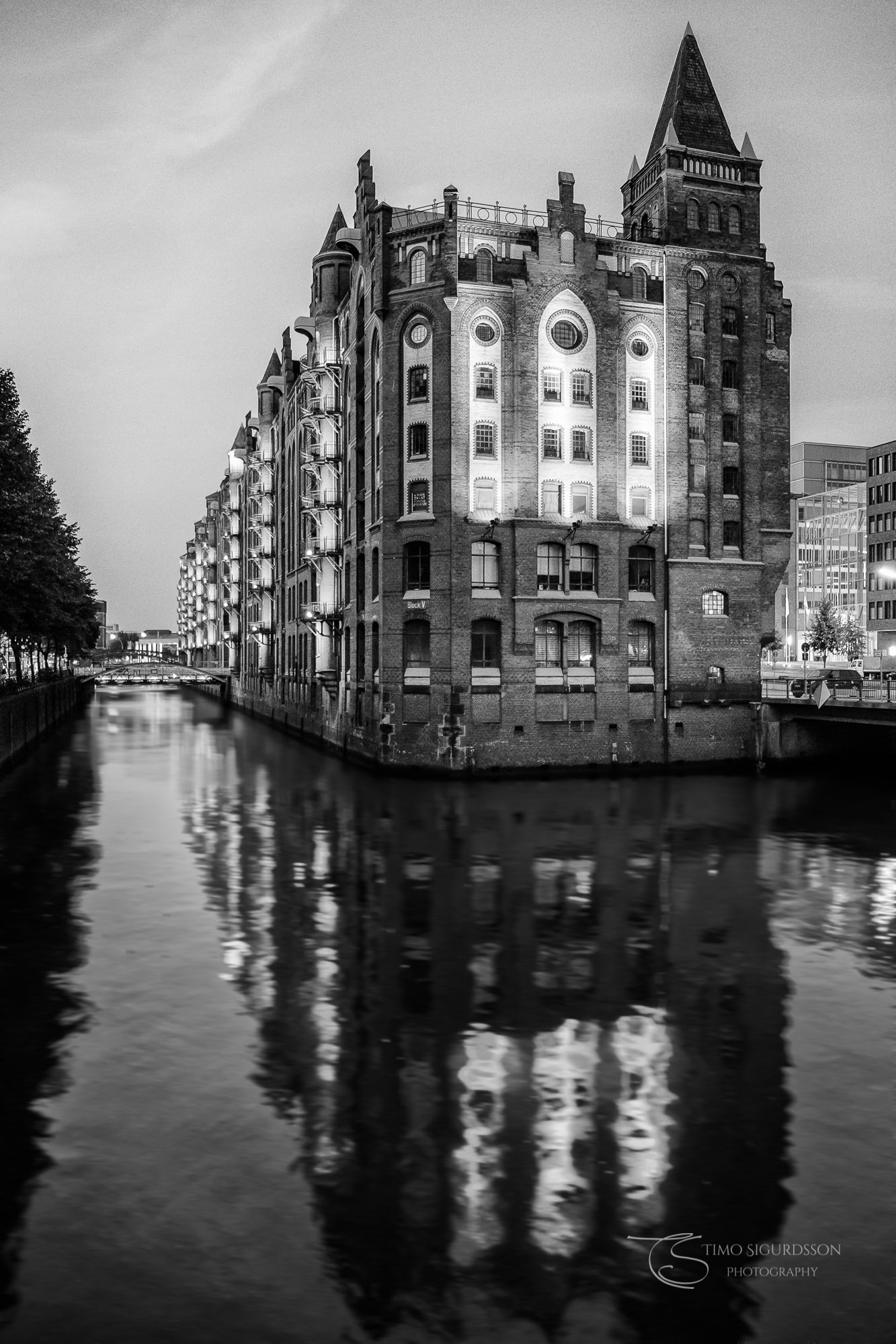 Speicherstadt, Hamburg, Germany. Black and white reflection in water.