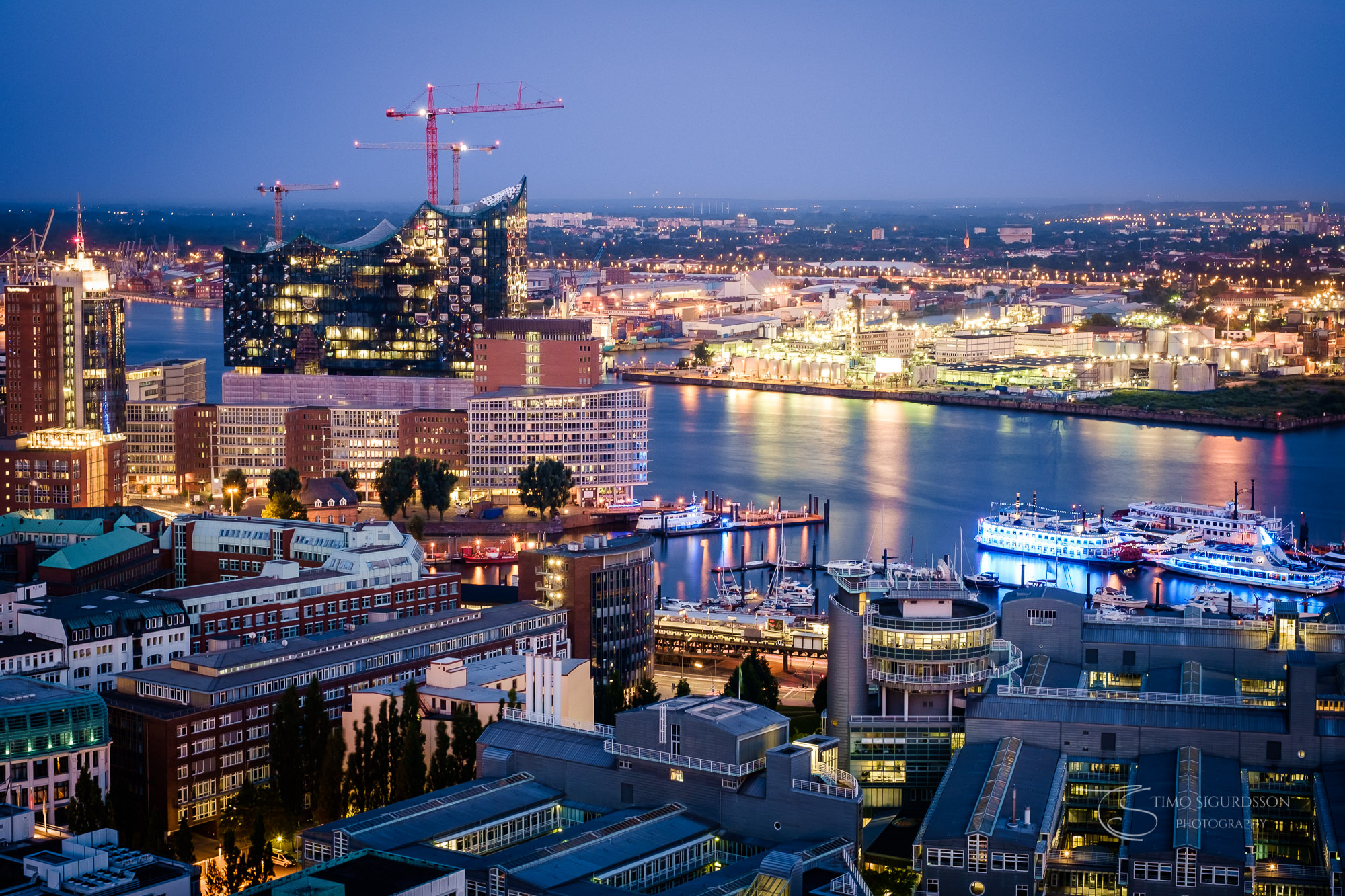 Hamburg, Germany. Port and Elbphilharmonie at dusk.