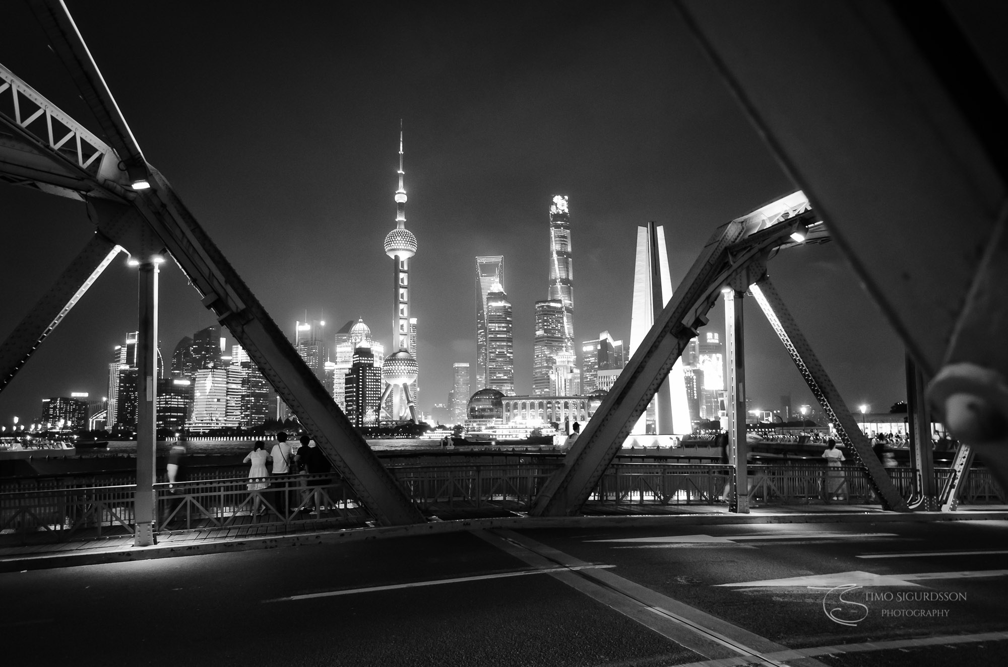 Shanghai, China. Pudong skyline from Waibaidu Bridge at night.