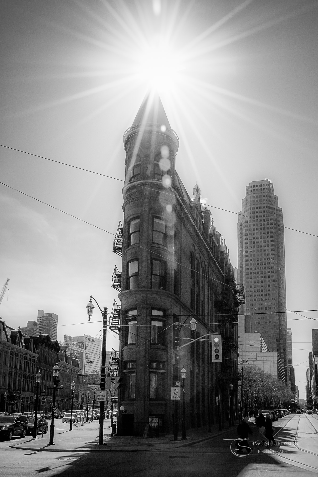 Downtown, Toronto, Canada. Gooderham Building with sunstar.