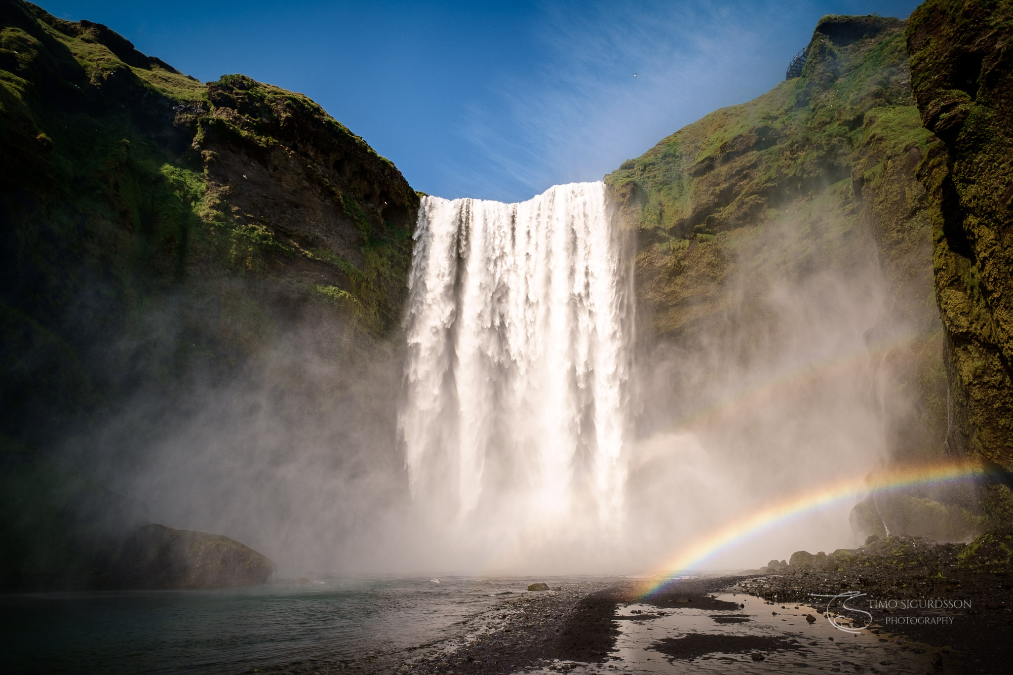Skógar, Iceland. Skógafoss waterfall with double rainbow.